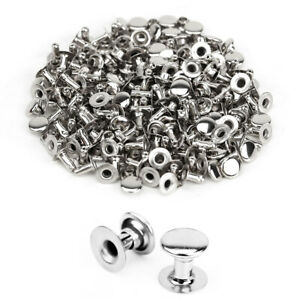 500pcs 6mm Silver Tubular Metal Spike Studs Rivet Shoes Belt Leathercraft DIY