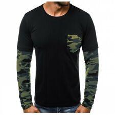 Herren Rundhalsausschnitt Langarm Camouflage T-Shirt Tops Casual  Fitness Modern