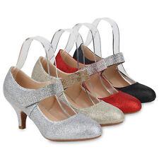 Damen Mary Jane Pumps Stiletto Riemchenpumps Glitzer Spangenpumps 832656 Schuhe