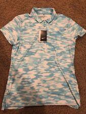 NWT Ladies NIKE Turquoise Aqua & White Short Sleeve Golf Polo Shirt - Large