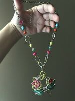 """Vintage Necklace With Lucite Beads Enameled Pendant Fashion Jewelry 18,5"""""""