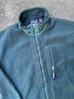 Vintage 90's Patagonia Deep Pile Green Full Zip Fleece XL Made In USA