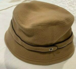 EUC COACH Signature C Logo Camel Wool Leather Belt Trim Bucket Hat Womens SZ M/L