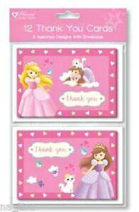 12pc Princess THANK YOU CARDS animals birthday party  girl boy kids+ envelopes