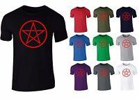 Red Pentagram Pagan Symbol Mens T-Shirt NEW S-XXL