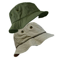 MENS LADIES COTTON BUCKET SUN HAT WITH EYELET DETAIL AND BRIM