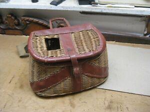 Vintage Wicker / Leather Creel Trout Fishing Basket - Estate Find