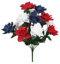 "20.5"" JUMBO SILK ROSE FLOWER BUSH WEDDING BRIDAL BOUQUET RED/WHITE/BLUE #500"