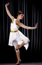 Goddess Dance Costume White and Gold Capri Unitard w/Skirt Clearance Adult 2XL