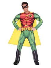 Adult Robin Fancy Dress Batman Superhero Costume DC Comic Book Day Mens
