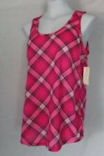 NEW Womens Soft Tank Top Pajamas Size Medium Pink Plaid Sleep Shirt PJs Lounge