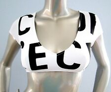 Nwt Victorias Secret Swim White Black VS Logo V Plunge Neck Crop Bikini Top S