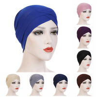 Ladies Muslim Hijab Stretch Cancer Chemo Cap Women Head Scarf Knotted Turban Hat