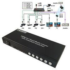 HDMI 4x1 Quad Picture Division Multi-Viewer Seamless Switcher+RS232 LPCM/AC3/DTS