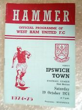 1974 West Ham United v Ipswich Town, 19 Oct (League Division One)