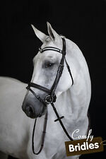 New Leather Horse Bridle 3row V Browband, Raised Converter Eventer, Havana, Full