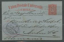 CHILE SANTIAGO 8/27/1901 3C POSTAL STATIONERY CARD TO BERLIN 10/5/01 AS SHOWN