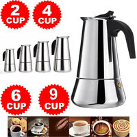 2/4/6/9-Cup Coffee Maker Moka Percolator Stove Top Espresso Latte Stainless Pot