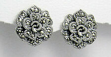 Sterling Silver 17mm Swiss Marcasite Rose Flower Stud Earrings Premium back 7.6g