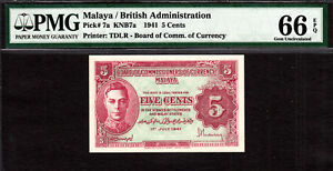 Malaya - British Administration 1941 KGVI 5 Cents Pick-7a GEM UNC PMG 66 EPQ