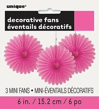 3 Pretty Hot Pink paper fans hanging decoration Easter Party Wedding Decoration