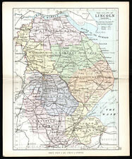 COUNTY OF LINCOLN 1891 George Philip & Son ANTIQUE MAP