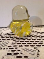Yellow & Clear Crystal Glass Bird Paperweight Figurine