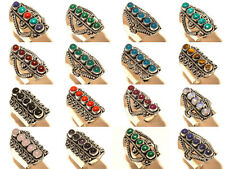 Silver Plated Free Shipping Ring Multi Gemstone Jewelry 100Pcs