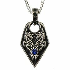 Nordic Lights Sea Unicorn Pendant Necklace Pewter Crystal Celtic Viking Love