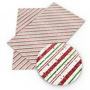 """Christmas FAUX LEATHER SHEET 9"""" X 12"""" WHOLESALE PRINTED 1110572 Stripes Stars"""