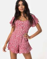 MOTEL ROCKS Bae Playsuit in Ditsy Rose Red and Silver M Medium  (MR71)