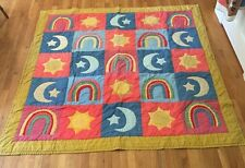 Calico Quilt Applique Rainbow Sun Moon Stars 78 X 78 Vintage red yellow blue