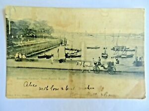 VINTAGE POSTCARD BOMBAY HARBOUR FROM APOLLO BUNDER BOAT HORSE CART PEOPLE  IMAGE