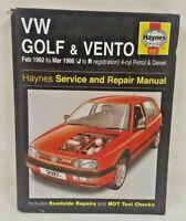 Haynes Service & Repair Manual for VW GOLF & VENTO FEB 92 - MAR 98 (J-R REG)