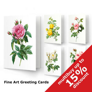 Vintage Roses flowers Redoute Floral Matte Fine Art Greeting Card Blank print