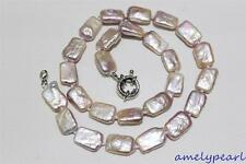 Natural purple Box fresh water pearl necklace 10x14mm 17INCH