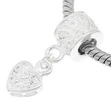 """European Style Dangle Charm Bead-silver heart  -Free Bracelet Offer!"""""""