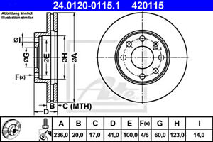 2x ATE Brake Disc For OPEL CHEVROLET DAEWOO Ascona C Astra F Van Combo B 569054
