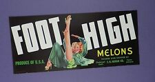 c1940's Foot High Melons Crate Label - Pin Up - Original Unused Stock