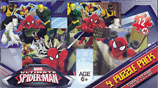 """Jigsaw Puzzle SPIDER-MAN Ultimate 12 pcs each 5"""" x 4.5"""" 4  Pack Cardinal"""