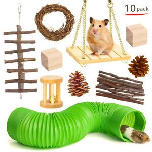 10PCS Wooden Hamster Chew Toys Hamster Rabbit Guinea Pig Accessories Set