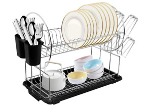 Dish Drying Rack Compact - Dish Rack and Drain Board Set with Removable Utensil