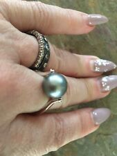 14KT White Gold & Genuine Tahitian South Sea Pearl Unique Ring Brand NEW size 8