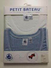 NEW - Set of 2 - Petit Bateau Boys Sleeveless T-Shirt White / Blue 14 Yrs Cotton