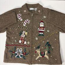Womens Holiday Christmas Sweater Petite XL Zip Front Brown Victoria Jones Xmas