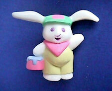 BUY1&GET1@50%~Hallmark PIN Easter BUNNY CRAYOLA Rabbit w PAINT PAIL Vtg Brooch