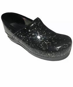 Sanita Women's Professional Black Patent Leather Silver Glitter Dot Clogs  41/10