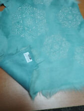 FREE SHIPPING-TURQUISE BLUE EMBROIDERED EMBRODERY HAIR ON SHEEP SKIN HIDE