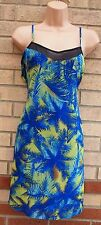 PRIMARK BLUE GREEN PALM TROPICAL CAMI TUNIC STRAPPY LONG TOP SMOCK DRESS 16 XL