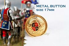 Set 8pcs Metal Gold British Style Buttons Coat of Arms Lion Cross Crow Size 17 mm